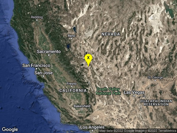 earthquake 40km NNE of Toms Place, CA