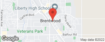 Map of 613 1st St in Brentwood