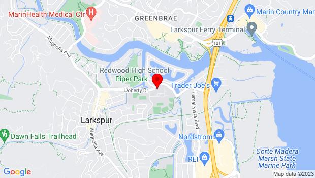 Google Map of REDWOOD HIGH SCHOOL Ceramics Room 514, Larkspur, CA 94939