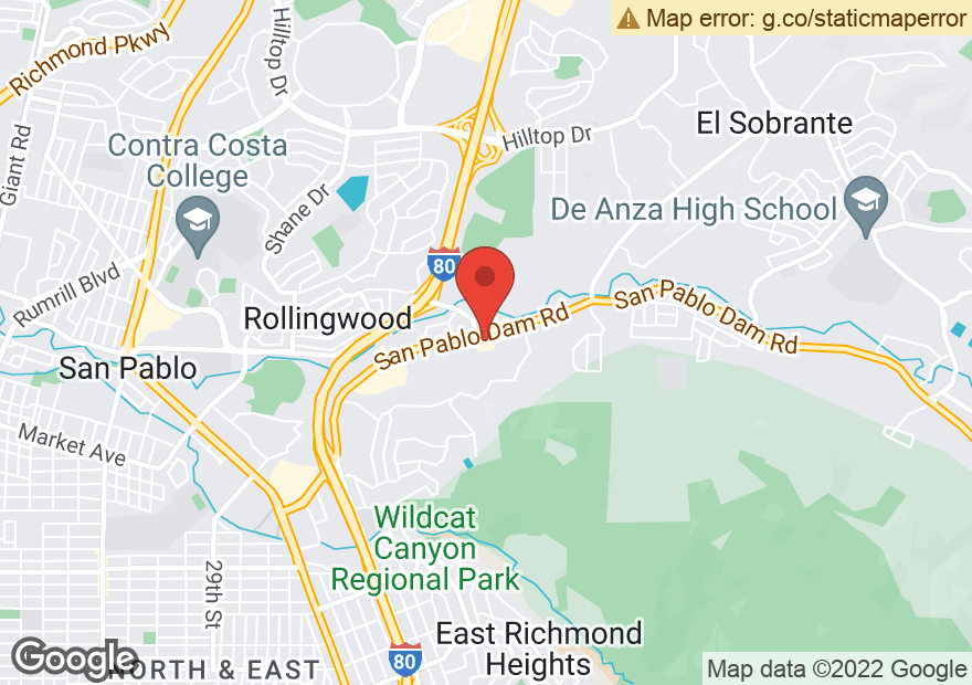 Google Map of 3630 SAN PABLO DAM RD