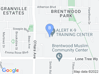 Map of Alert K 9 Training Center Dog Boarding options in Brentwood | Boarding