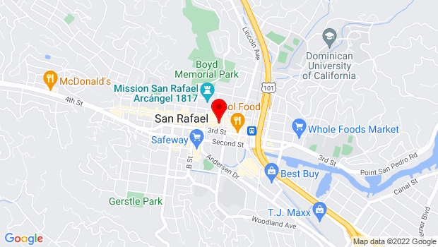 Google Map of 919 4th St, San Rafael, CA 94901