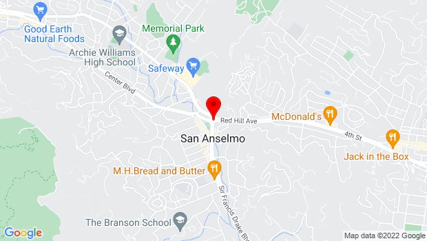 Google Map of Sir Francis Drake Blvd. at Center Blvd, San Anselmo, CA 94960