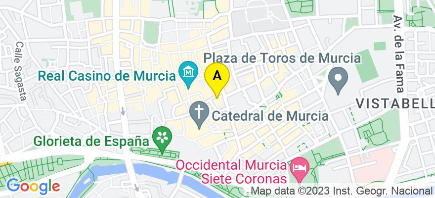situacion en el mapa de . Direccion: Plaza Cetina 1, 1º D, 30001 Murcia. Murcia