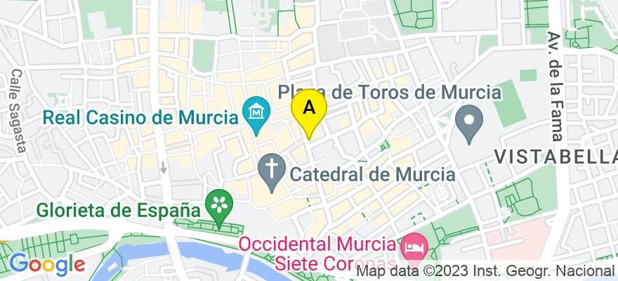 situacion en el mapa de . Direccion: PLAZA CETINA, 6, 1º A-B, 30001 Murcia. Murcia