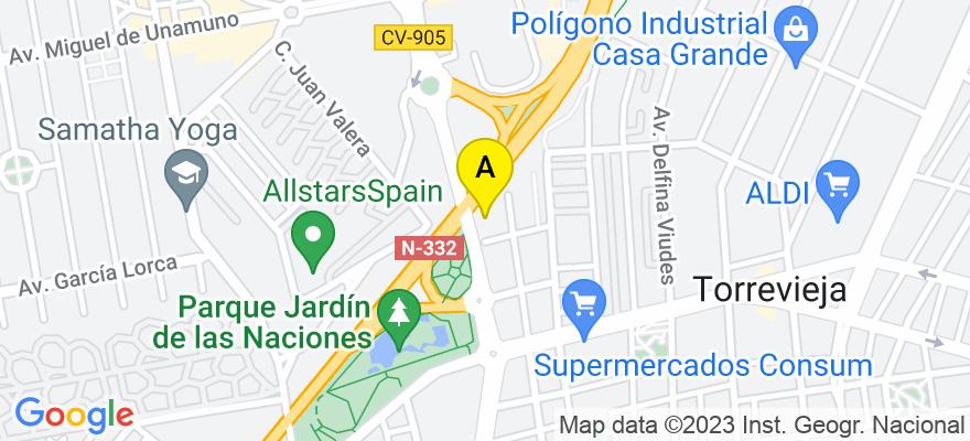 situacion en el mapa de . Direccion: C Orihuela 102, 03181 Torrevieja. Alicante
