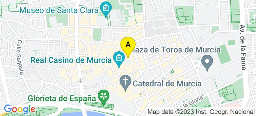 situacion en el mapa de . Direccion: Calle San Lorenzo 6 2º, 30001 Murcia. Murcia