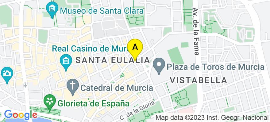 situacion en el mapa de . Direccion: calle Mariano Vergara 8, 30003 Murcia. Murcia