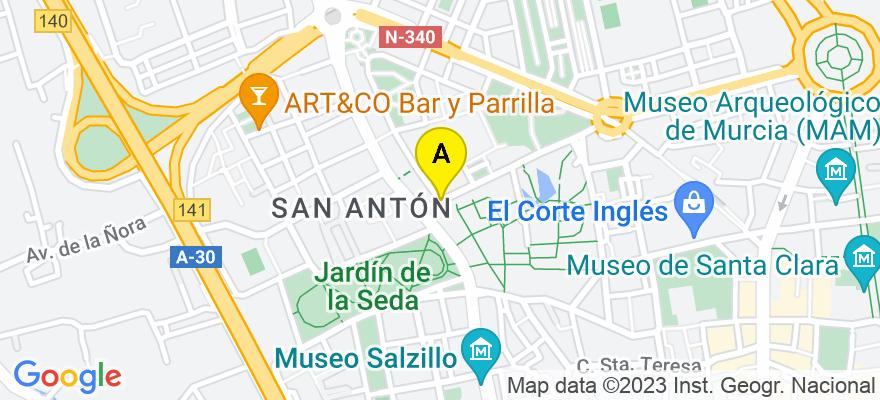 situacion en el mapa de . Direccion: Calle Isaac Albéniz, 9. murcia (Esc. 4ª. 1º A. Edificio Manú), 30009 Murcia. Murcia