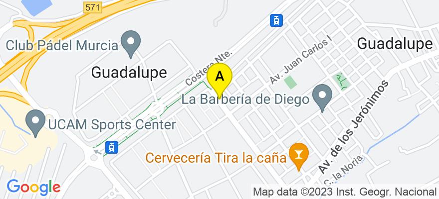 situacion en el mapa de . Direccion: Avda. Principe de Asturias, nº 41, bajo-2, 30007 Murcia. Murcia