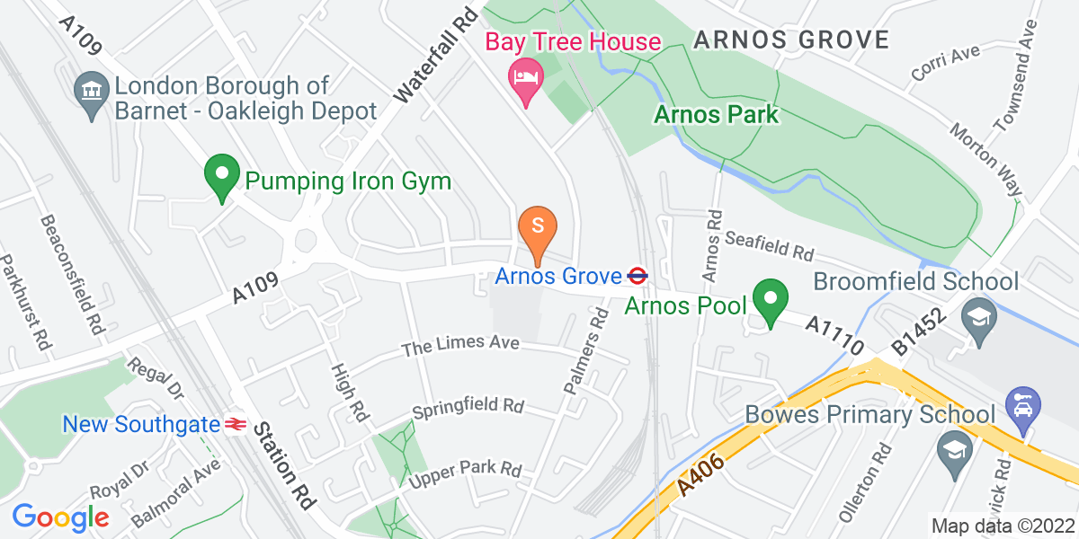 Google Map of 376-378 Bowes Road London N11 1NL