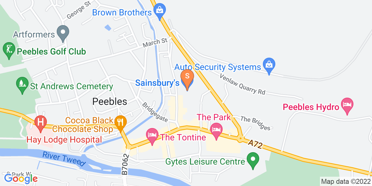 Google Map of 38 Northgate Peebles EH45 8RS