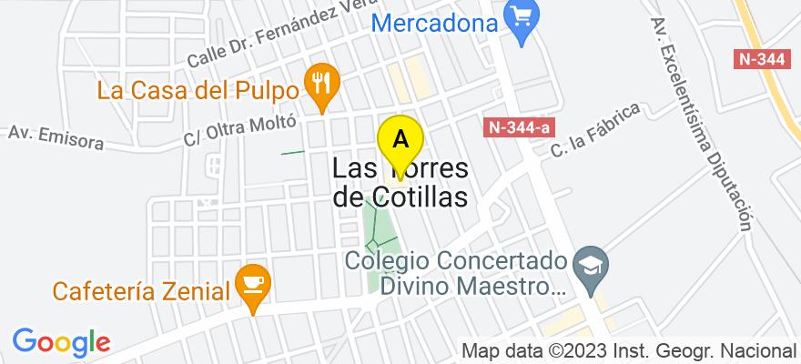 situacion en el mapa de . Direccion: Calle Tarragona, 2, Bajo (detrás de Marvimundo), 30565 Las Torres de Cotillas. Murcia