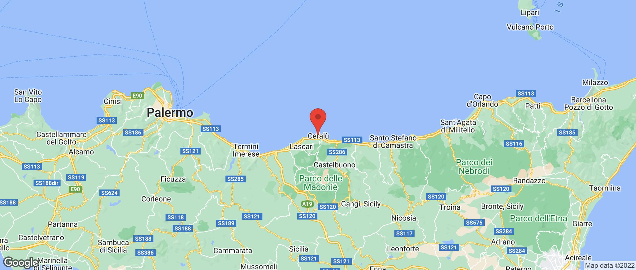 Map showing the location of Cefalu