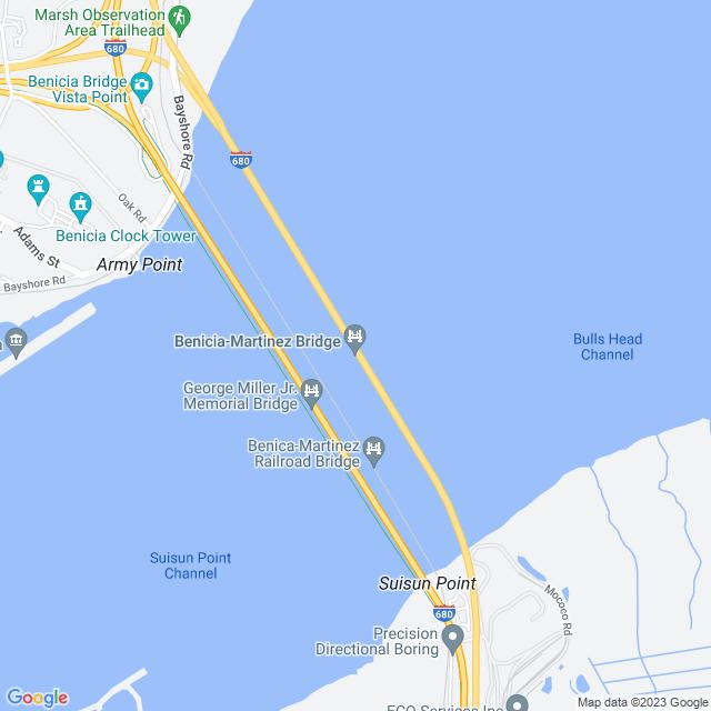 Map of Benicia Martinez Bridge