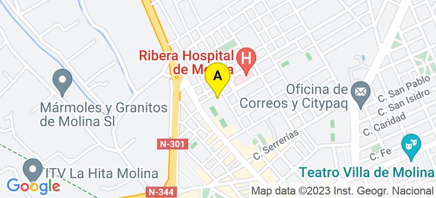 situacion en el mapa de . Direccion: Plaza de la Ceramica, nuemero 6, 2B, 30.500 Molina de Segura. Murcia