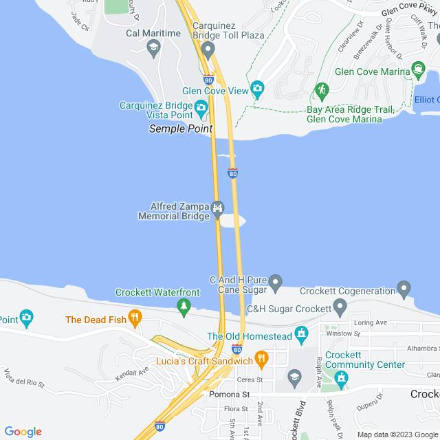 Map of Carquinez Bridge