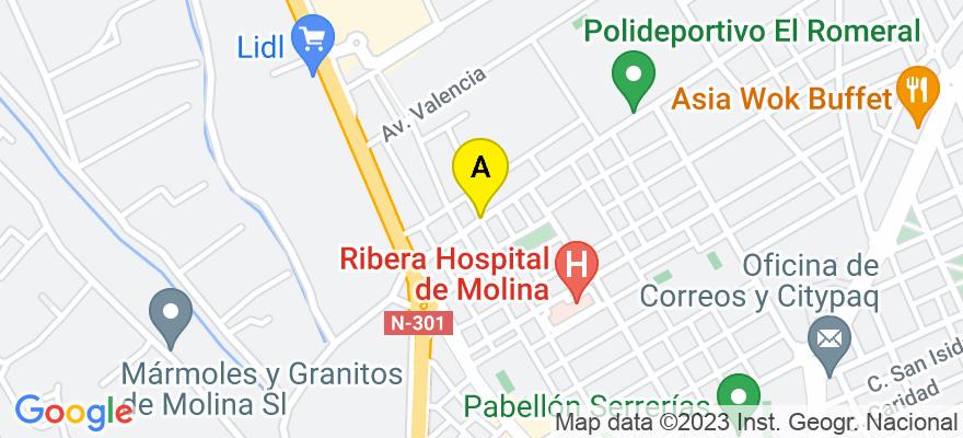 situacion en el mapa de . Direccion: C/ García Lorca, 19, 30500 Molina de Segura. Murcia