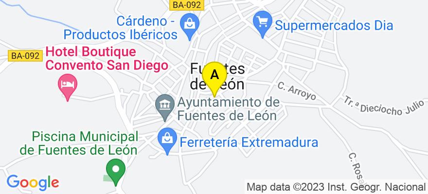 situacion en el mapa de . Direccion: Altozano, 18, 06280 Fuentes de León. Badajoz