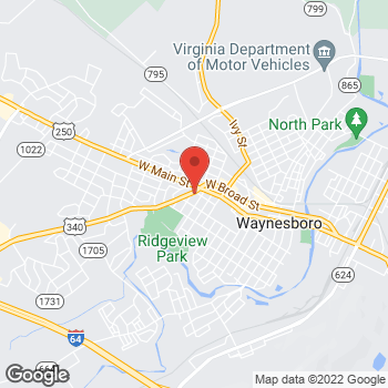 Map of Arby's at 204 Rosser Ave, Waynesboro, VA 22980