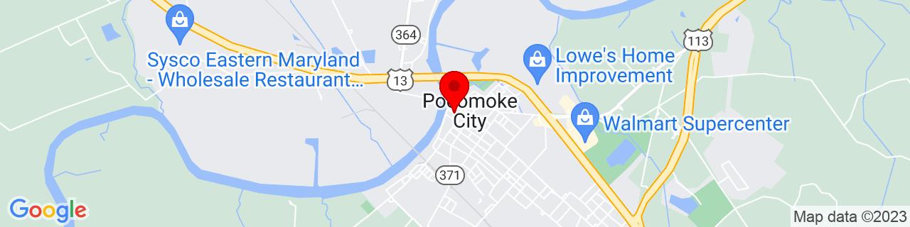Google Map of 38.0754114, -75.5698701