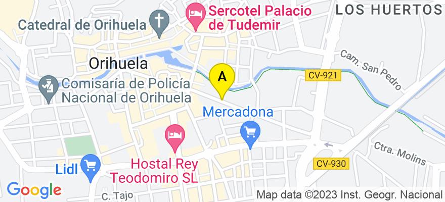 situacion en el mapa de . Direccion: C/. OBISPO ROCAMORA, Nº 25 - 1º B, 03300 Orihuela. Alicante