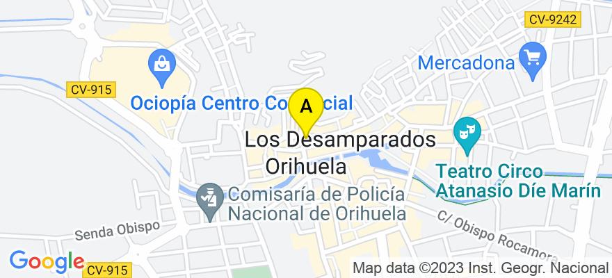 situacion en el mapa de . Direccion: calle Pablo Picasso nº 1, 2º Local 10, 03189 Orihuela. Alicante