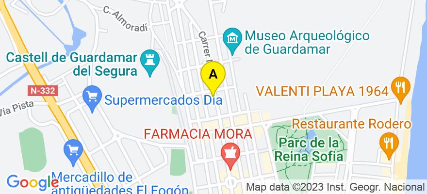 situacion en el mapa de . Direccion: Mayor, 15 - 3º A, 03140 Guardamar del Segura. Alicante