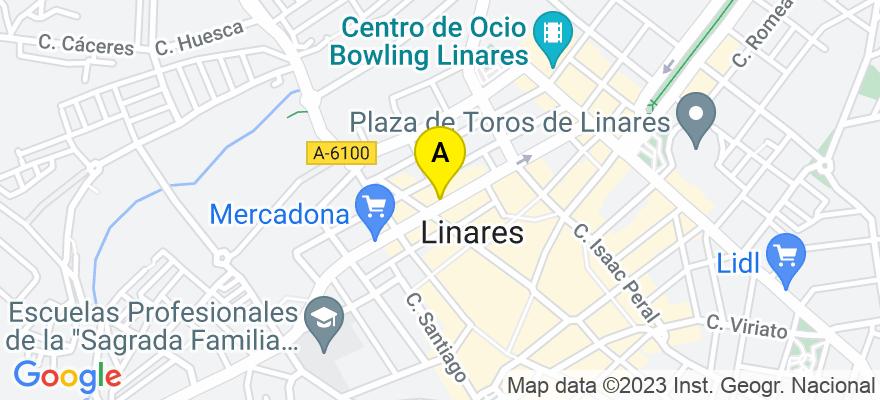 situacion en el mapa de . Direccion: Viriato, 14. Bis, 23700 Linares. Jaén