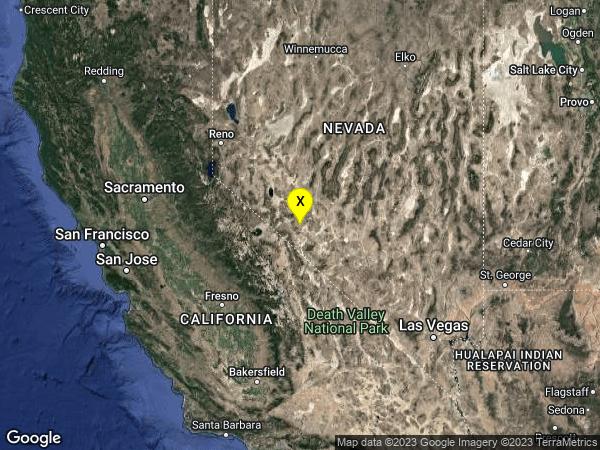 earthquake 29 km S of Mina, Nevada