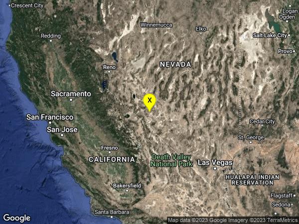 earthquake 65km SE of Hawthorne, Nevada