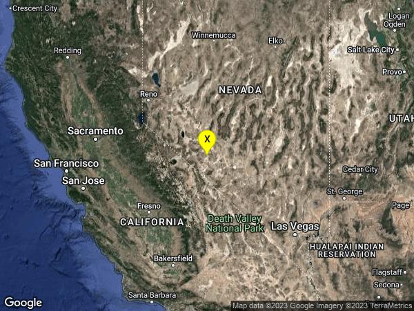 earthquake 28 km SSE of Mina, Nevada