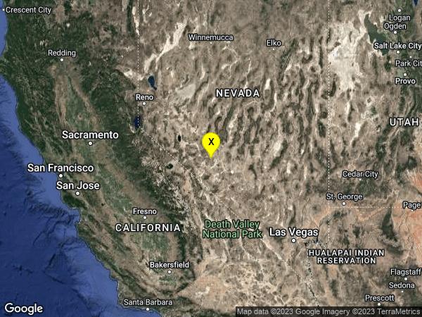earthquake 45km WNW of Tonopah, Nevada
