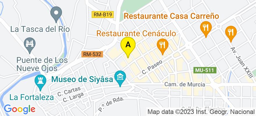 situacion en el mapa de . Direccion: Pza. España 1, 1º, 30530 Cieza. Murcia