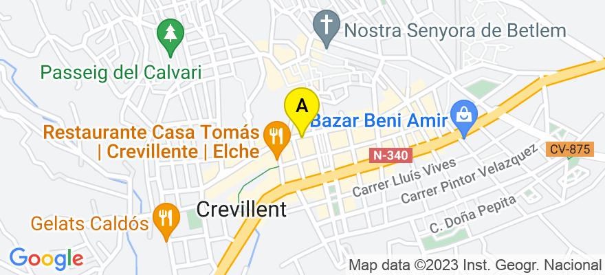 situacion en el mapa de . Direccion: Avenida de Madrid, 19, - 1º A, 03330 Crevillente. Alicante