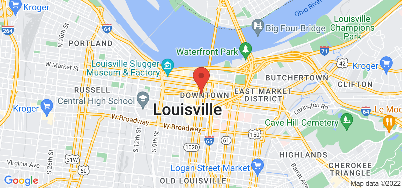 A Google Map with a marker at 280 W Jefferson St, Louisville, KY 40202, USA