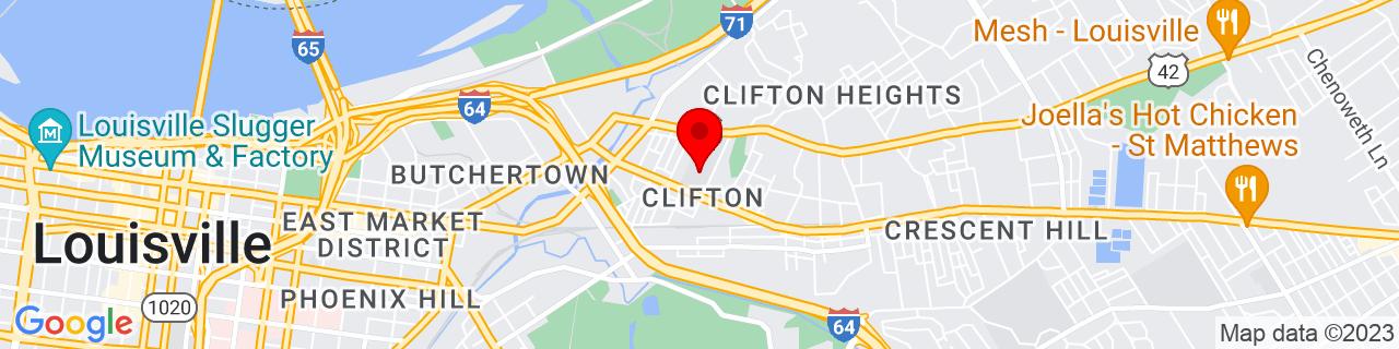 Google Map of 38.2569538, -85.71296149999999