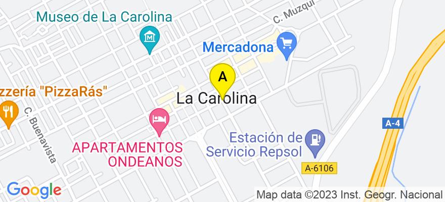 situacion en el mapa de . Direccion: C/ Mendez Nuñez Nº9 Bajo, 23200 La Carolina. Jaén
