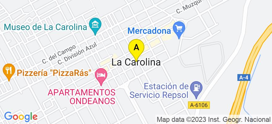 situacion en el mapa de . Direccion: Calle María Amalia de Sajonia, 36, 23200 La Carolina. Jaén