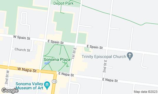Map of B&V Whiskey Bar & Grille at 400 1st St E Sonoma, CA