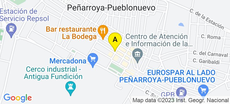 situacion en el mapa de . Direccion: Calle La Luna, 11- 1º- C, 14200 Peñarroya-Pueblonuevo. Córdoba