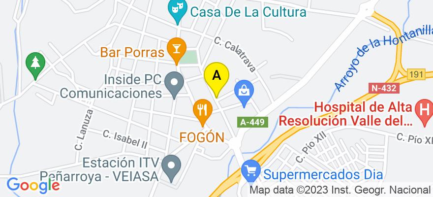 situacion en el mapa de . Direccion: Fernando III El Santo, Nº 19, 14200 Peñarroya-Pueblonuevo. Córdoba