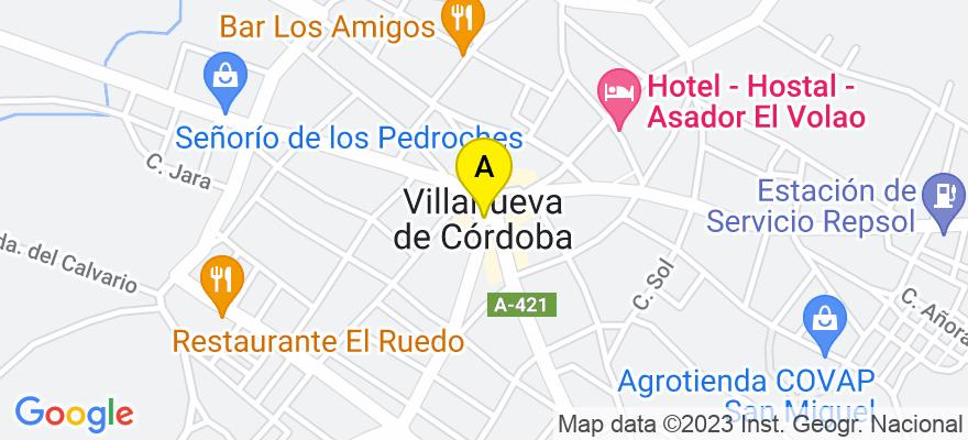 situacion en el mapa de . Direccion: CL TODOS LOS MÁRTIRES, 16-BJ, 14440 Villanueva de Córdoba. Córdoba