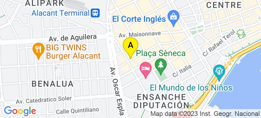 situacion en el mapa de . Direccion: c/ Arquitecto Morell, 10, 1º V, 03003 Alicante. Alicante