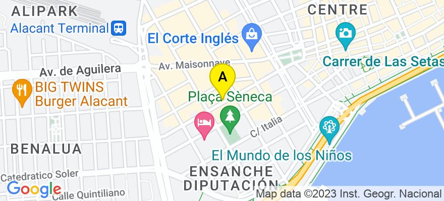 situacion en el mapa de . Direccion: C/Reyes Católicos 26, 3º. pta 3, 03003 Alicante. Alicante