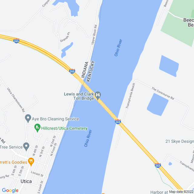 Map of Lewis and Clark Bridge (SR 265/KY 841)