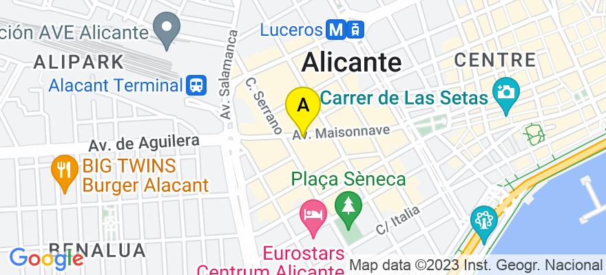 situacion en el mapa de . Direccion: Avenida Maisonnave, 41 – 3º B, 03003 Alicante. Alicante