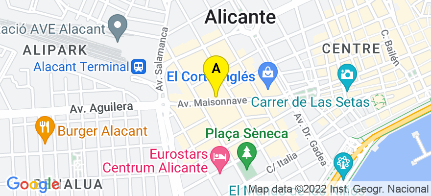 situacion en el mapa de . Direccion: Avenida Maisonnave, 30 - 2º, 03003 Alicante. Alicante