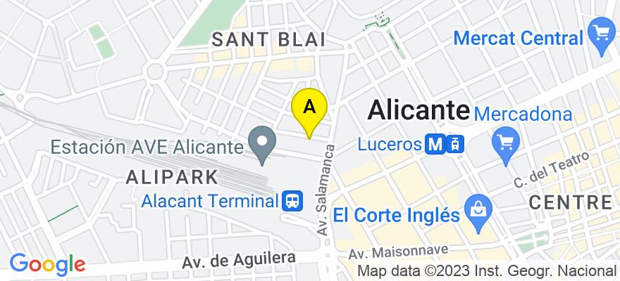 situacion en el mapa de . Direccion: C/Callosa del Segura 3, Oficina 2, 03005 Alicante. Alicante