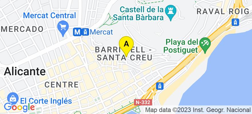 situacion en el mapa de . Direccion: C/ Toledo, 03002 Alicante. Alicante